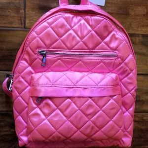 F21 Pink Satin Quilted Backpack Book Bag Travel